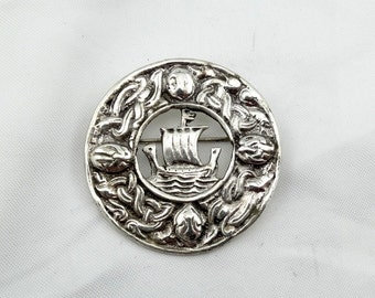 Vintage 1930's Era Sterling Silver Viking Brooch  #SCOTLAND-BR3