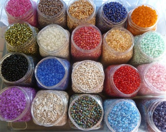 20  Seed Bead Bags each one 10g  Seed Beads and Bugle Beads 200g  of Seed Bead and Bugles
