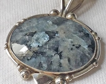 Sterling and Bellidoite Mineral Pendant