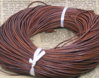 10 YARD Distressed/Natural Brown Color  Real Leather Cord Without Clasp Lobster 2.0mm