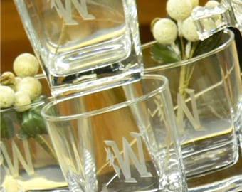 Sterling Square On the Rocks Bar Glasses Engraved with Custom Initial(s)