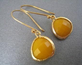 Mustard Orange Gold Drop Earring, Crystal Dangle, Teardrop, Bridal, Vermeil Wires