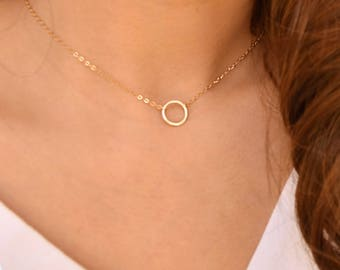 circle necklace, eternal love necklace, 14k gold filled ring sterling silver, mothers day gift