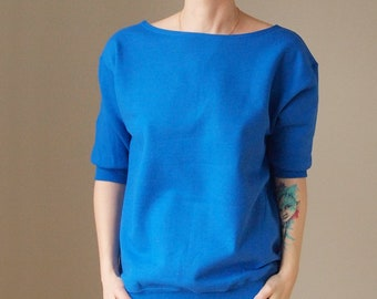 Doublesided Sweatshirt Boat Neck Sweatshirt V Neck Sweatshirt Royal Blue Sweatshirt Feminine Sweatshirt Maternity Sweatsshirt Off  Shoulder