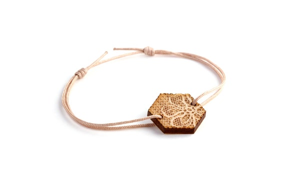 Hexagon bracelet with lace pattern - 25 colors - wedding bangle - adjustable bracelet - lasercut maple wood - bride jewelry - customizable