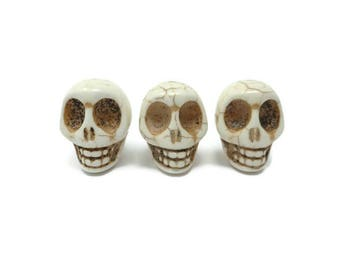 Bone White Howlite Skull - Extra Large Skull - 30mm x 29mm x 24mm - Huge - Over 1 Inch - Jumbo - synthetic turquoise - cream beige