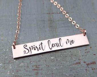 Spirit Lead Me Inspirational Hand Stamped Christian Bar Necklace. 14k Gold Filled, Rose Gold Filled, Sterling Silver.