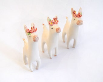 Lupita, The Donkey Traveller. Donkey Figure with Flower Headpiece in Ceramic, Decorated in Red Tones and Roses. Made To Order