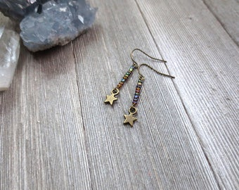Magic Wand Earrings, Tiny Star Earrings, Iridescent Earrings, Dainty Star Earrings, Magical Fairy Earrings, Mystical Earrings