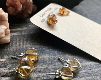 Raw Gemstone Earrings,Citrine Stud Earrings,Birthstone,Gemstone Earrings,Citrine Earrings,Studs,Raw Stone,Silver Stud,Raw Gemstone Studs