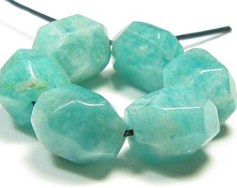 10x8mm Peruvian Amazonite Smooth Faceted Simple Cut Nugget Bead - 6 beads - #FC7288