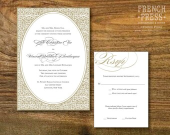 Frame Flourish Wedding Invitation Suite, Personalized Instant Download, Printable DIY Wedding Invitation Set