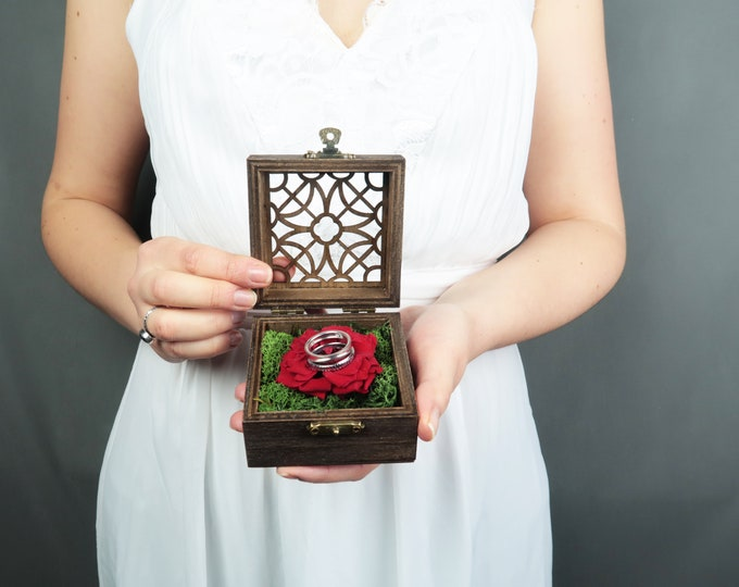 Red rose Wedding ring bearer engagement proposal box with green moss red wild preserved roses dark walnut wood woodland rustic style