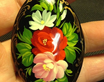 Brooch wooden. Handmade. Hand-painted. Russia