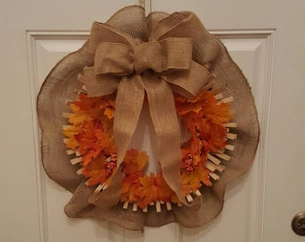 Festive Fall Laundry Room or Thanksgiving Wreath