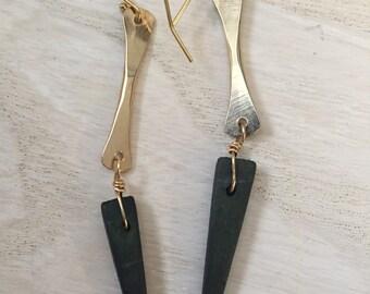 Black wooden spike Earrings, 14k gold fill black spike earrings, long gold and black earrings