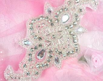 """AXR75 Bridal Sash DIY Silver Beaded Crystal Rhinestone Applique Sewing Crafts Motifs 5.75"""" (AXR75-slcr)"""