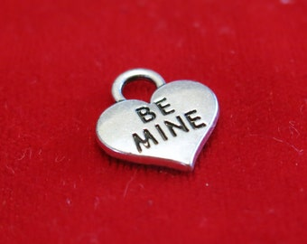 """BULK! 15pc """"Be mine"""" charms in antique silver style (BC1162B)"""