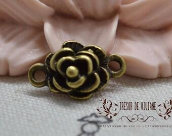 Set of 15 QZW008 charms, Bronze, flowers