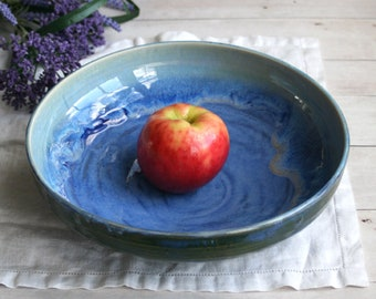 Large Shallow Serving Bowl with Dripping Blue Glazes Handmade Stoneware Pottery Ready to Ship Made in USA