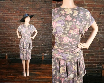 Vintage 80s Peplum Ruched Dress Avant Garde Floral Print Dress 1980s Hourglass Wiggle Dress (M)