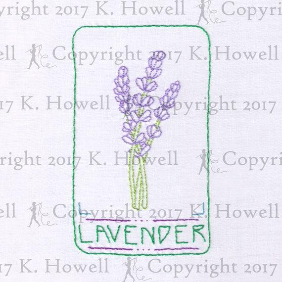 Lavender Hand Embroidery Pattern Flower Plant Lavender Herb