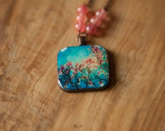 Copper Rounded Square 38 mm Pendant - Beaded Copper Chain