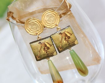 agate earrings zama volcanic stone handmade hand made