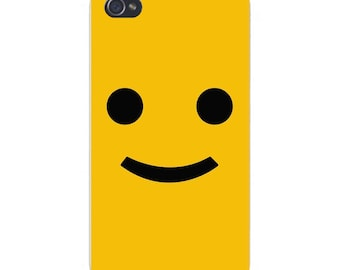 Apple iPhone Custom Case White Plastic Snap on - Large Smiley Face on Dark Yellow 4762