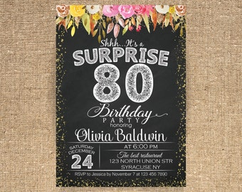 80th Birthday Surprise Party Invitations 60th Invitation Woman