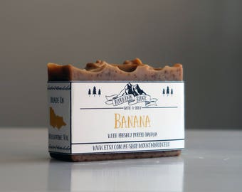 Banana Soap - Handmade Soap, Cold Process Soap, Freshly Pureed Banana, Sweet Almond Oil, Palm Free Soap