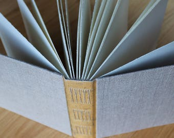 Long Stitch Photo Album or Mixed Media Journal with Distressed Gold Spine and Natural Linen Covers