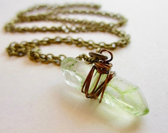 Peridot Quartz Point Necklace Long Crystal Point Pendant Necklace Layering Necklace Boho Jewelry Wire Wrapped Jewelry Handmade