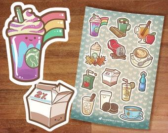 Stickers / Cute Drinks Stickers / Latte Art / Sticker Set / Rainbow Frappe / Stickers sheet / Hot Chocolate Cider PSL Lemonade Horchata Soda