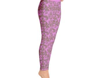 Damask Pattern Yoga Leggings Plum damask workout legging gym legging gift for her