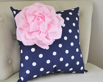 Decorative Pillow Covers - Navy Blue Pillow Covers - Throw Pillow Cover - Pink Cushion Covers - Blue Pillow - Nursery Pillows - Baby Bedding