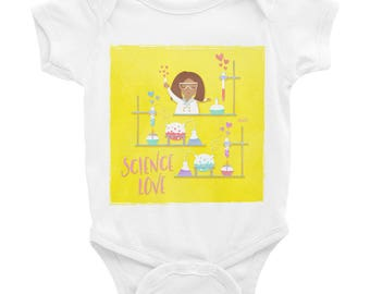 NAHLI Yellow Science Love Baby Bodysuit