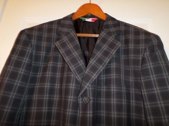Riccardo Blazer Sports Jacket Plaid Italy 42 Wool Blend Fathers Day Gift Valentines Gift FIcsv9J