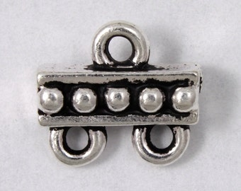 9.4mm x 10.6mm Antique Silver Tierracast Beaded Two Loop End Bar #CKA151