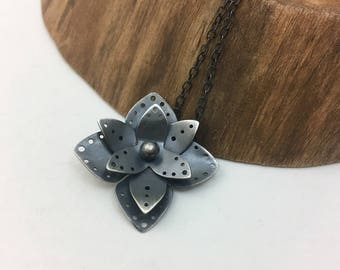 Silver Flower Pendant - OOAK Handcrafted Nature Inspired Jewelry, Sterling Flower