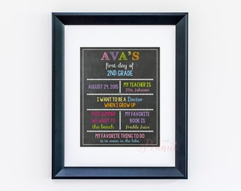 First Day of School Sign - School Year Sign - Back to School Chalkboard - Memory Sign - Personalized School Sign - Digital Download