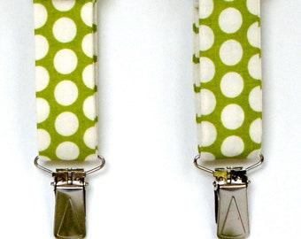 Green Polka Dot Boy's Suspenders/Bow Tie Set