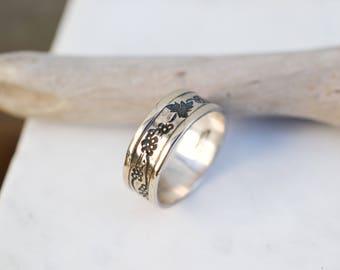 Sterling Silver Designer Ed Levin Grape Vine Ring, Ed Levin Ring, Ed Levin Jewelry, Vermeil Ed Levin Jewelry, Grape Ring, Grape Vine Band