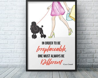 Coco Chanel Wall Art Print, New Apartment Gift Fashion Print, In Order To Be Irreplaceable, One Must Always Be Different Dorm Room Decor