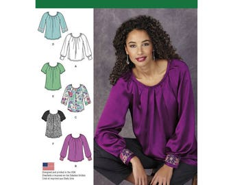 Simplicity Pattern 1315 Misses' Blouse with Sleeve & Trim Variations