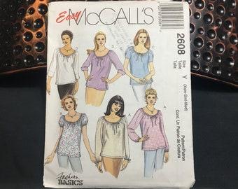 Drawstring Neckline Blouse Pattern, Raglan Sleeve Blouse, UNCUT, McCall's 20608, Ladies Shirt, 2000, Size Y Xsm - Med, Easy Sewing Pattern