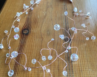 Rose gold & crystal AB hair vine with satin ribbon for wedding or prom!
