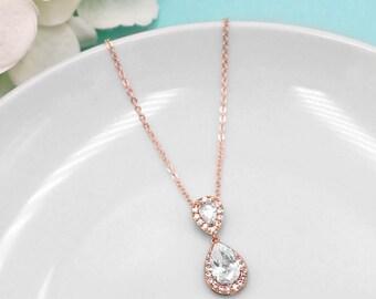 Rose Gold Pendant, CZ Wedding Necklace, rose gold jewelry, wedding jewelry, rose gold, necklace pendant, Kensley Rose Gold Necklace