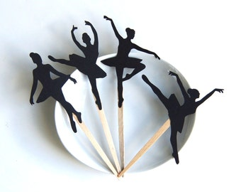 Ballerina DIY Cupcake Topper Kit, Ballet Cupcake Toppers, Ballerina Cupcake Party Picks or Skewers