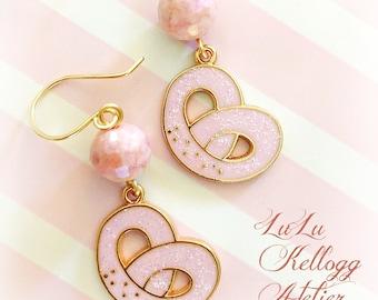 KITSCHY PINK PRETZEL Earrings, Whimsical Earrings, Pink Earrings